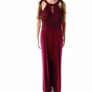 Nightway Jumpsuit Red Halter Sequin Lace  14